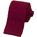 Burgundy Solid Textured Striped Silk Knitted Tie image