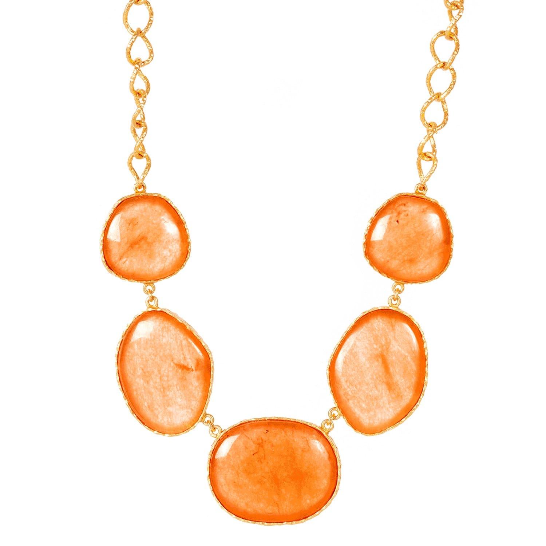 Statement Necklace in Orange Quartz by Christina Greene