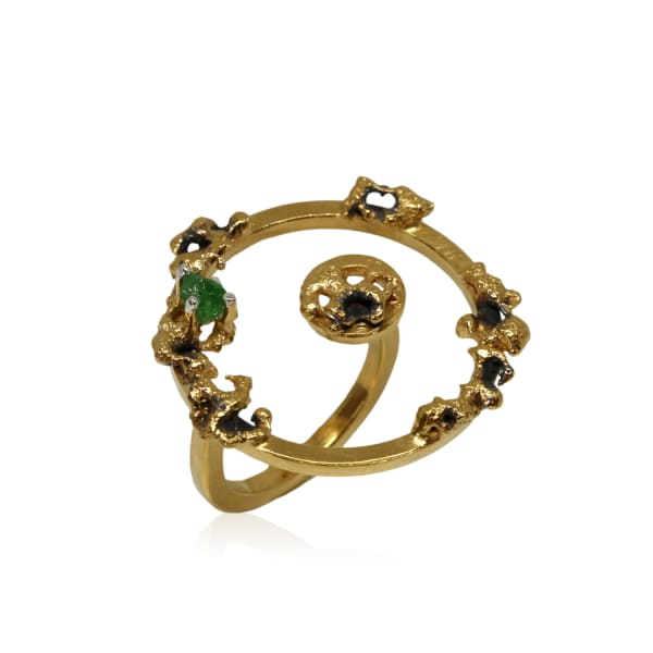 Karolina Bik Jewellery Out Of The Sea Growth Ring With Raw Tsavoryt
