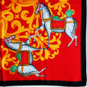 Kalighat Horse Classic Silk Scarf Collection Yellow & Red image