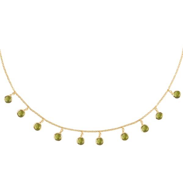 LATELITA LONDON Florence Round Gemstone Necklace Gold Peridot