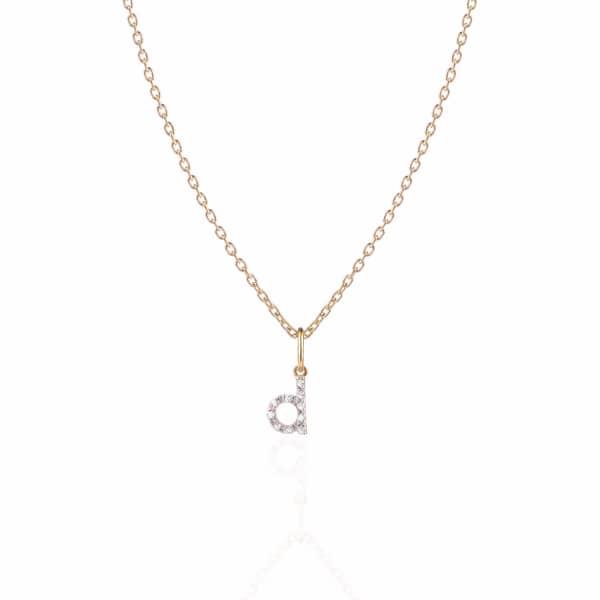 SHARON MILLS LONDON Monogram Mini Diamond Necklace D