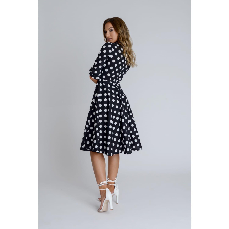 8bc5180e8d6f Alice Black And White Polka Dot Swing Midi Dress With Neck Bow image