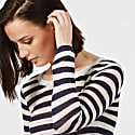 Linen Gauze Stripe Sweater Navy & White image