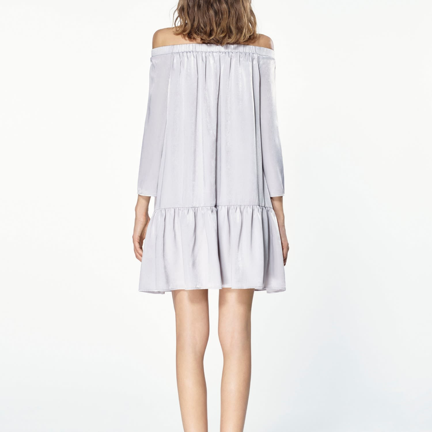 1515e0c6c14c Off The Shoulder Shift Dress With Gathered Hem In Silver image