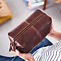 Classic Dark Brown Leather Wash Bag image