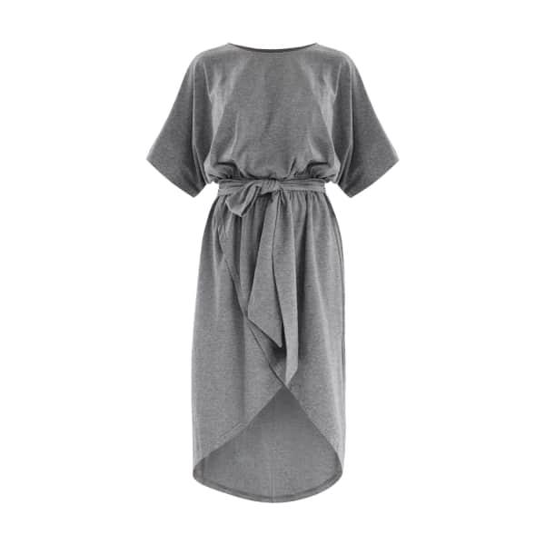 PAISIE Jersey Dress with Skirt Overlay & Tie Belt Iin Grey
