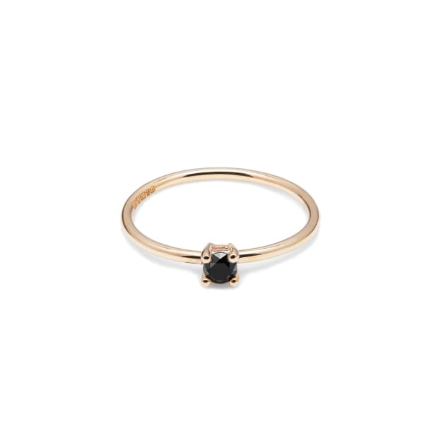 MYIA BONNER 9Ct Yellow Gold & Black Diamond Solitaire Ring