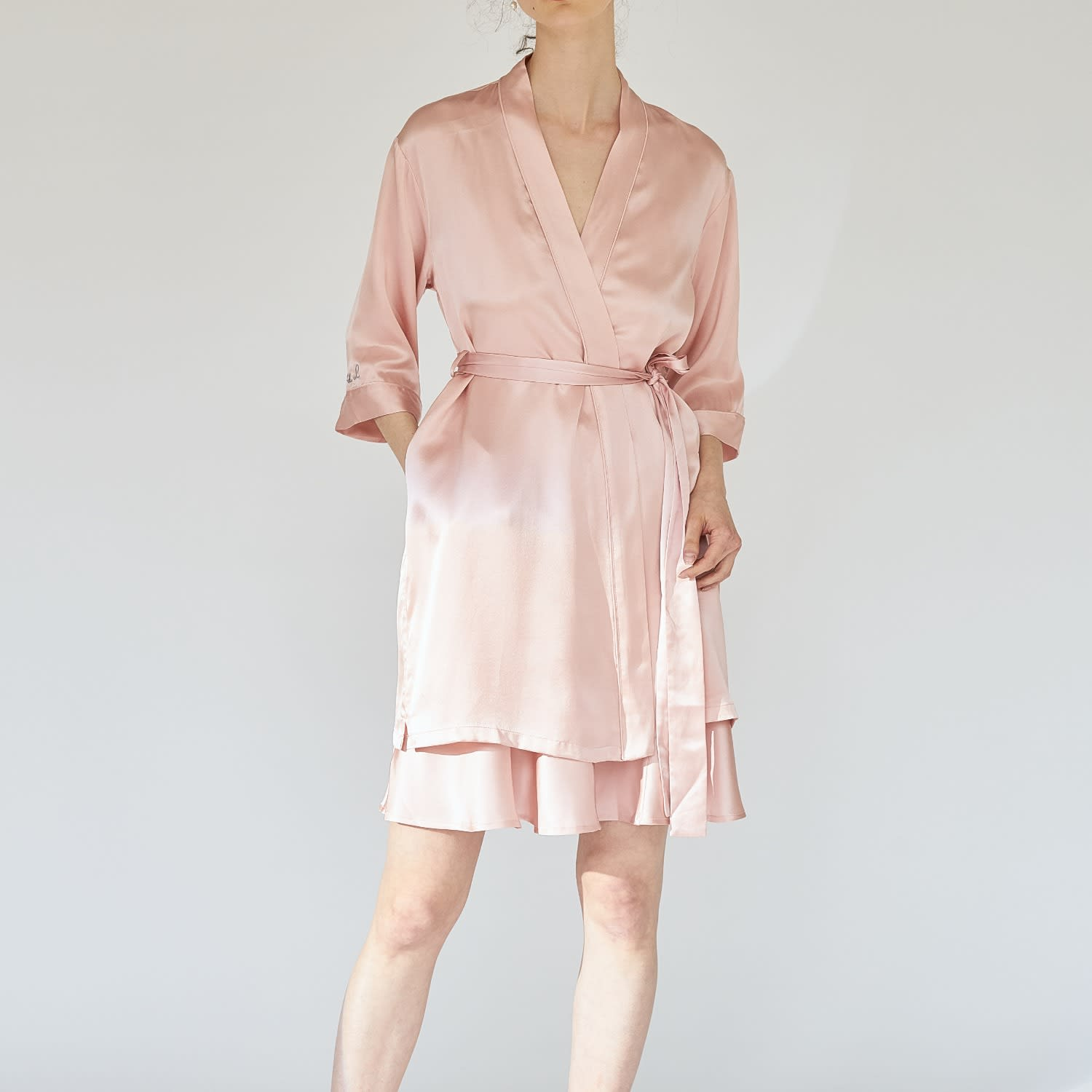Silk Wedding Robe Pink Not Just Pajama Wolf Badger