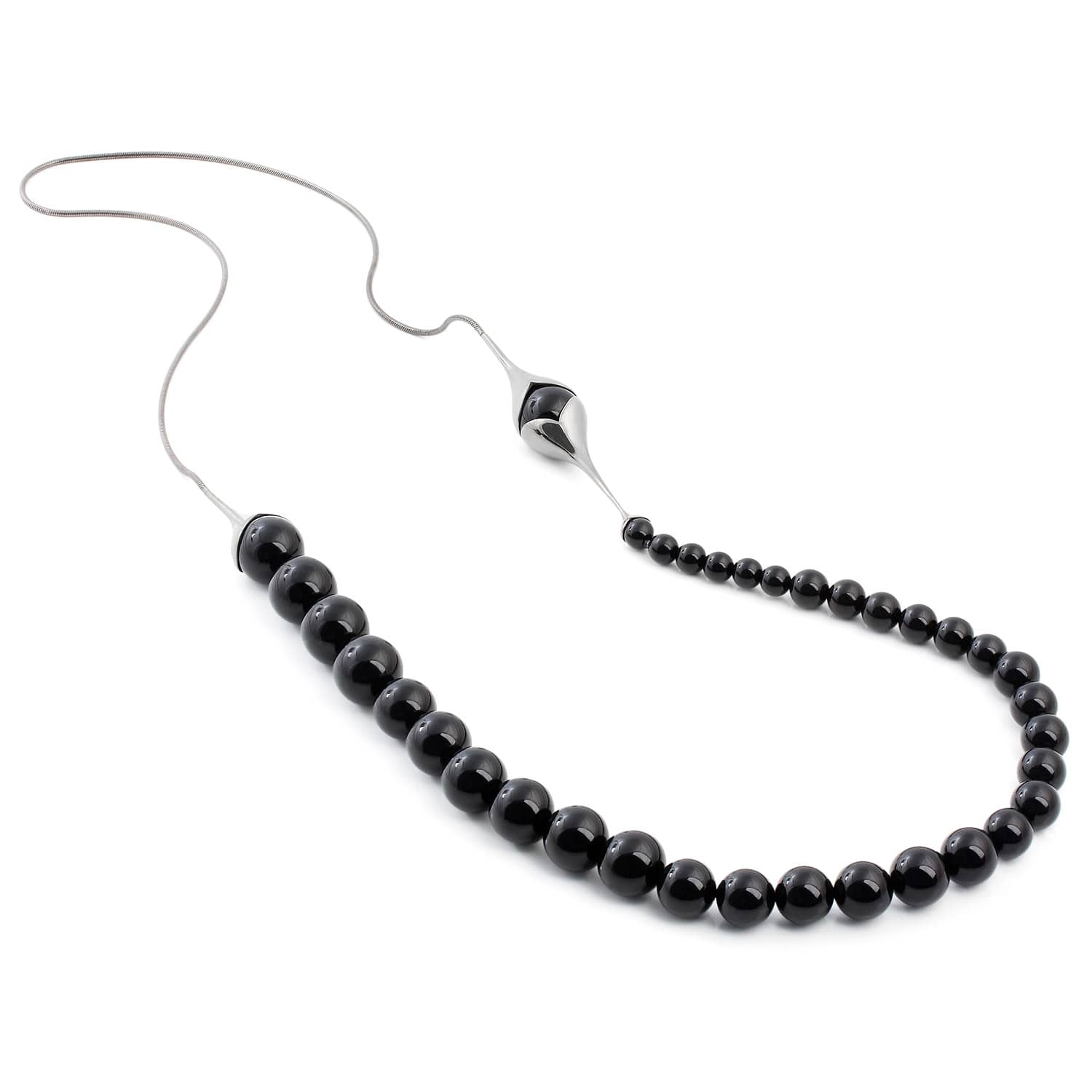 and sterling silver black oie necklace diamond jewelry img onyx product long
