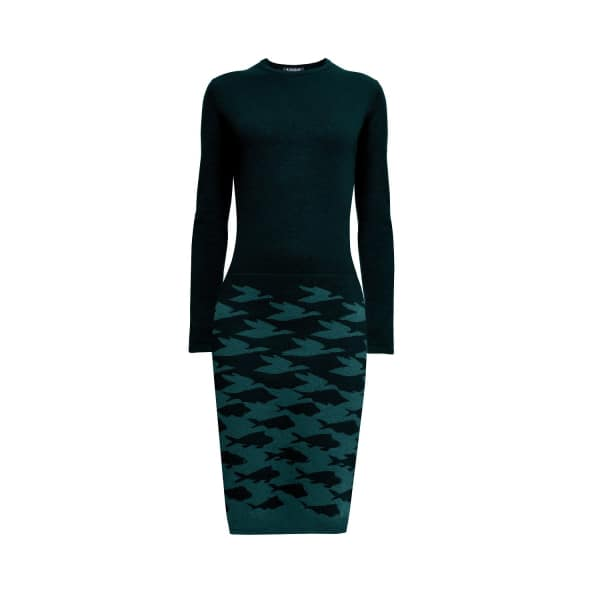 Sea & Sky Forest Green Knitted Jacquard Dress