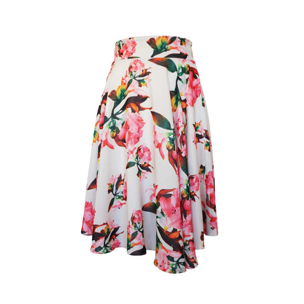 LAUREN LYNN LONDON The Kate Floral Skirt White & Pink