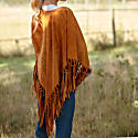 Suede Leather Knotted Fringe Shawl in Honey image