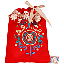 Hand Embroidered Drawstring Pouch Red image