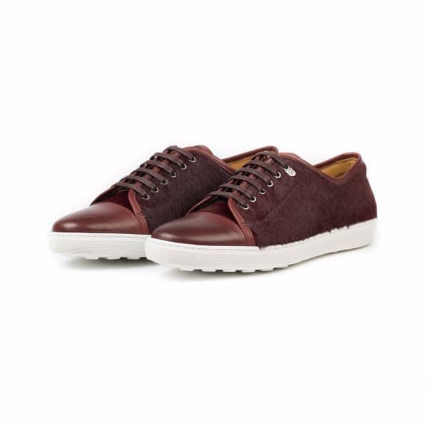 DONHALL & BELL Redchurch Calf Hair Luxury Sneaker Burgundy