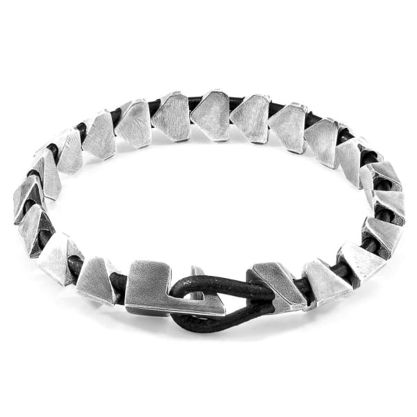 ANCHOR & CREW Raven Black Brixham Maxi Silver & Round Leather Bracelet