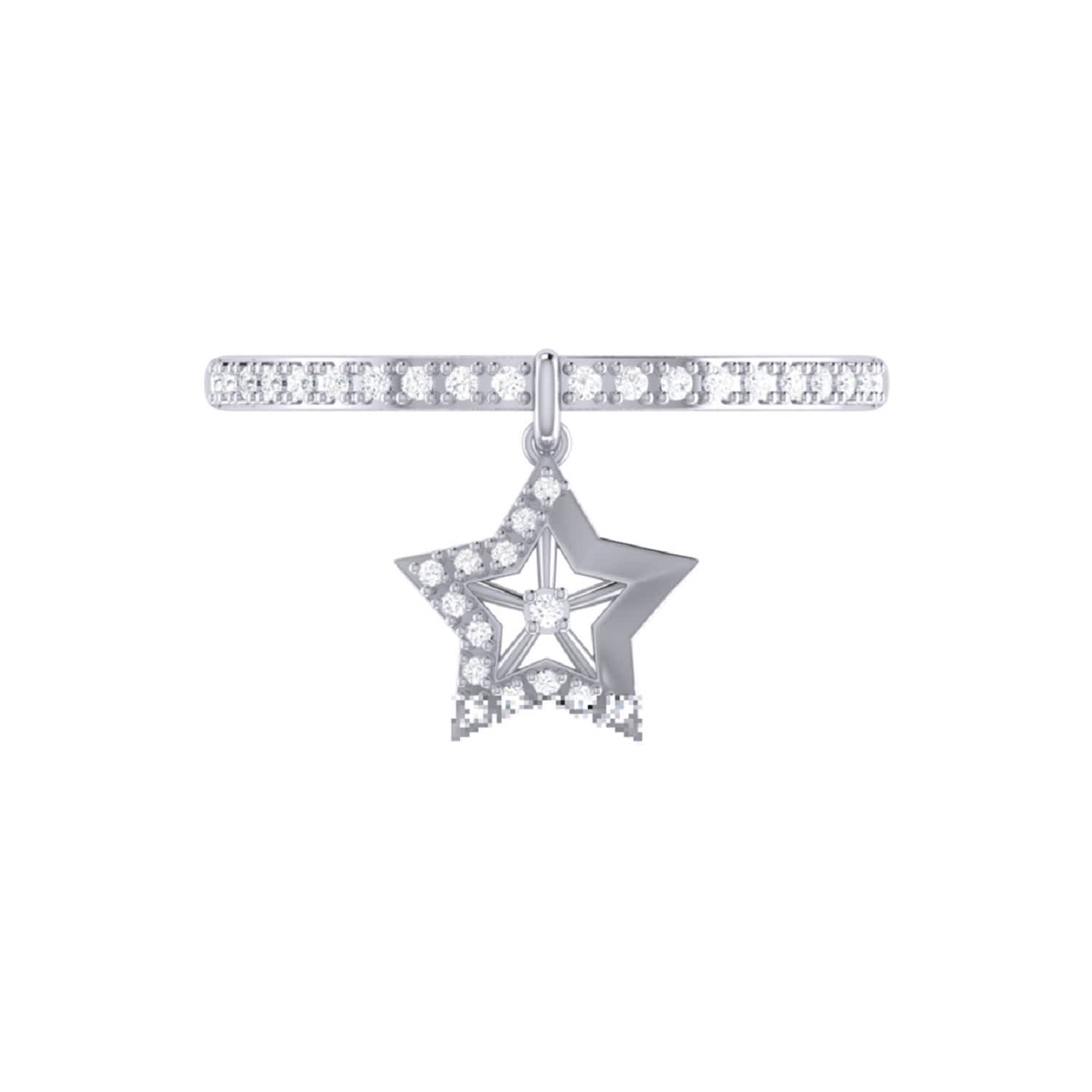Lucky Star Charm Ring in Sterling Silver
