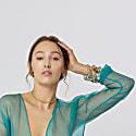 Sasha Gold Bangle With Blue Quartz Gemstones image