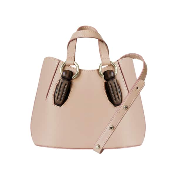 AEVHA LONDON Mini Garnet Tote In Taupe With Wooden Hardware
