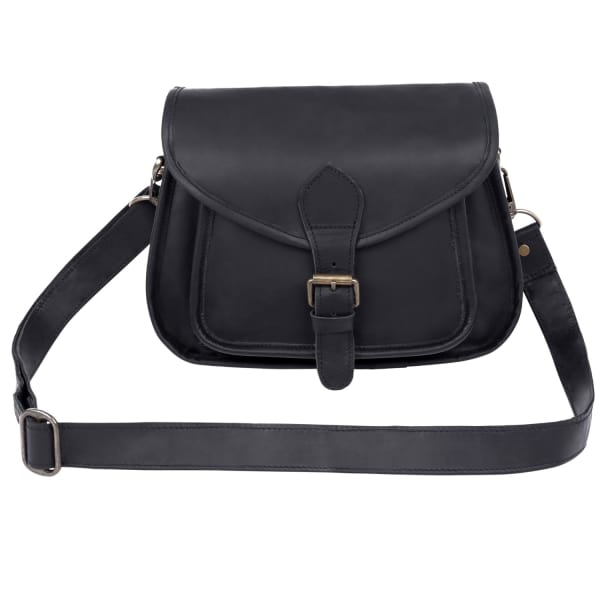MAHI LEATHER Classic Saddle Pouch Bag in Black Leather