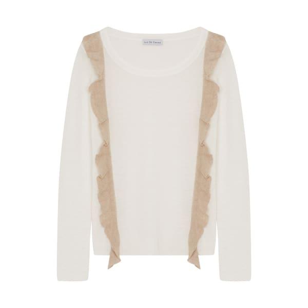 ILLE DE COCOS Linen Ruffle Sweater White & Natural
