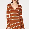 Striped Wrap Top with Tie in Brown Gold & White image