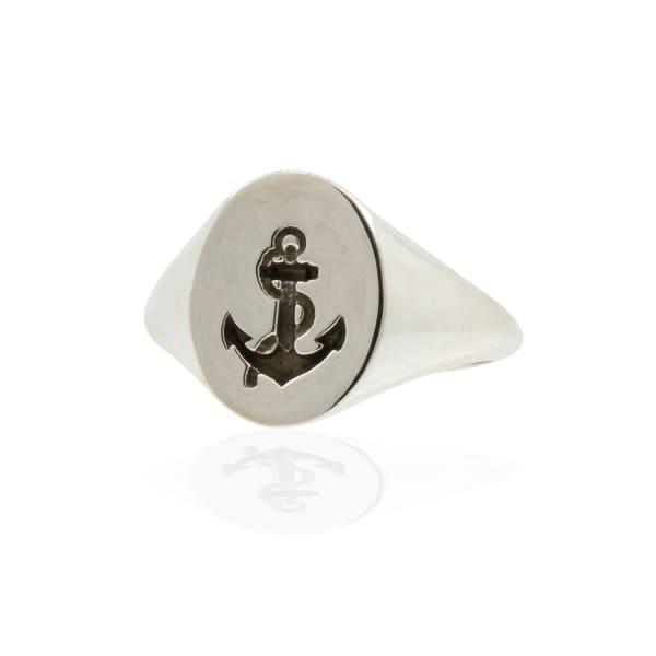 NO 13 Anchor Signet Ring - Silver