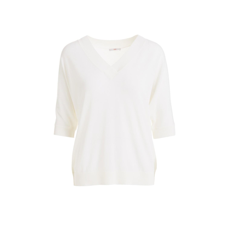 WtR - Pensamianto White Merino Wool V-Neck Top