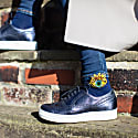 Navy Blue Bamboo Socks With Beaded Yellow Eye Brooch image
