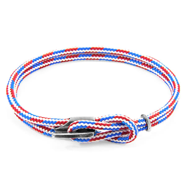Anchor & Crew Project-Rwb Red White & Blue Padstow Silver & Rope Bracelet (M)