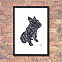 French Bulldog Geometric Print - Frank Black On White Background image