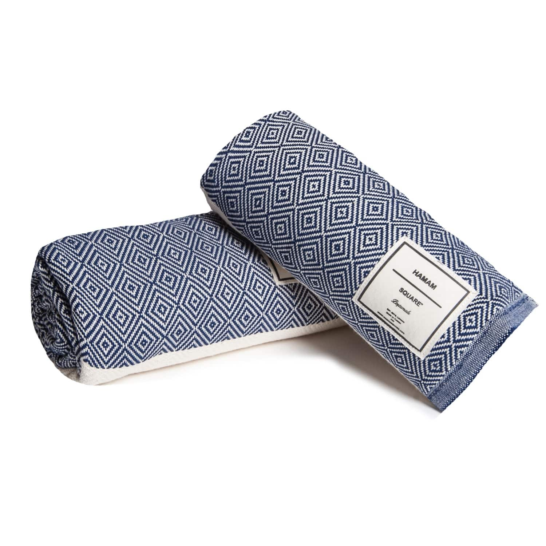Diamond Turkish Towel Navy Blue by Hamam Square 7ccab7cd2