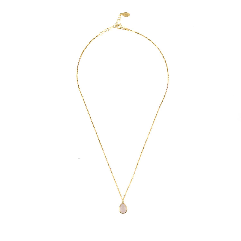 Latelita London Pisa Mini Teardrop Necklace Rose Gold Rose Quartz vRVcO