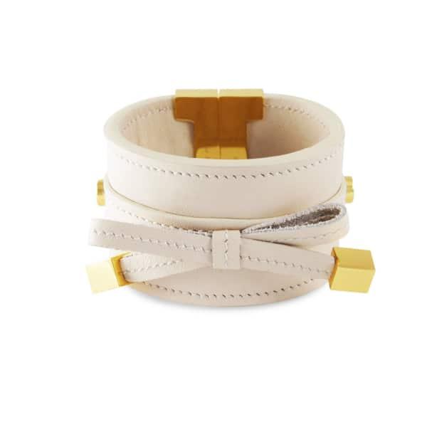 TISSUVILLE Bow & Cube Almond Latte Bracelet Gold