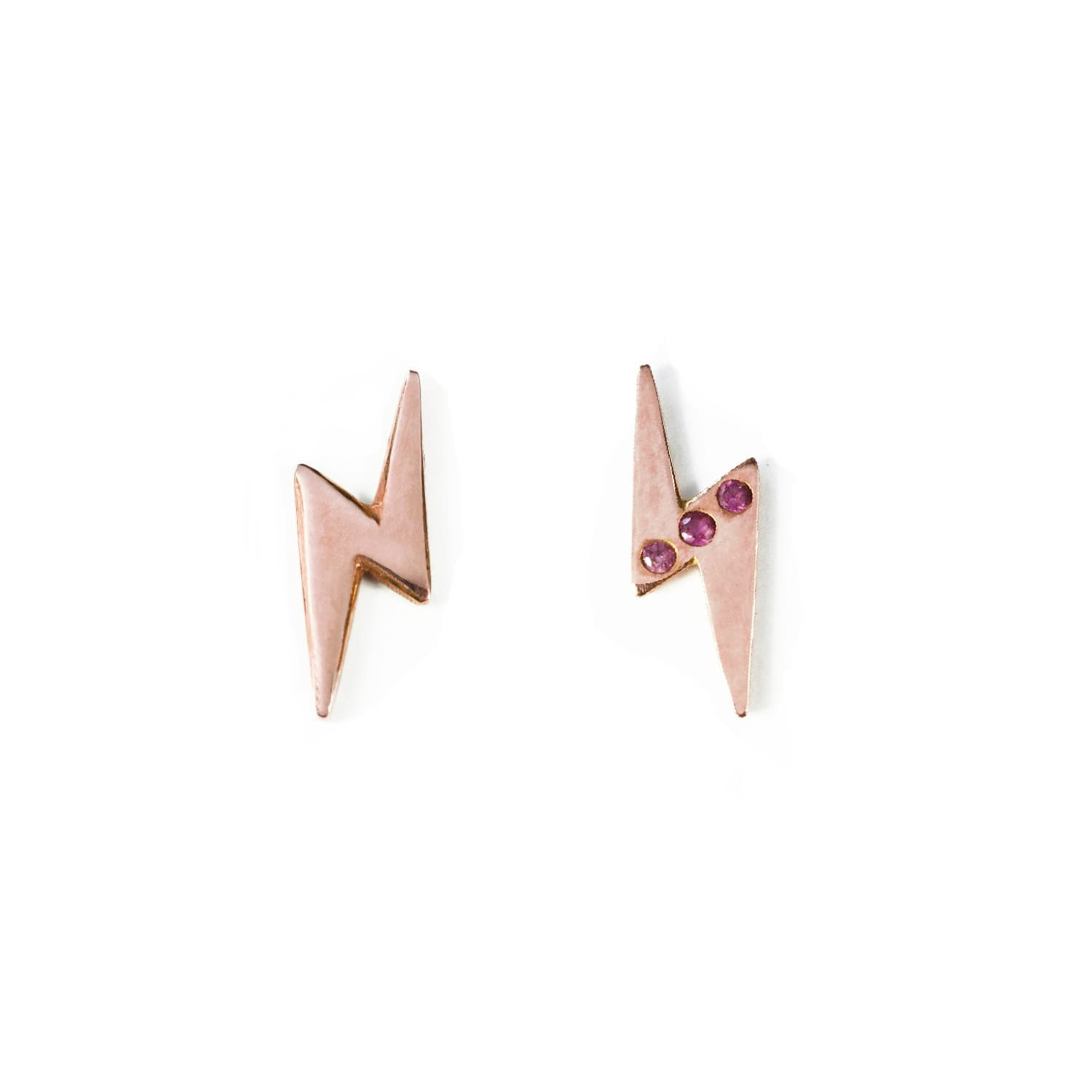 60d05d582 9ct Rose Gold Lightning Stud Earrings | BARK | Wolf & Badger