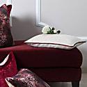 Cream Linen Rectangular Cushion With Berry Velvet Piping image