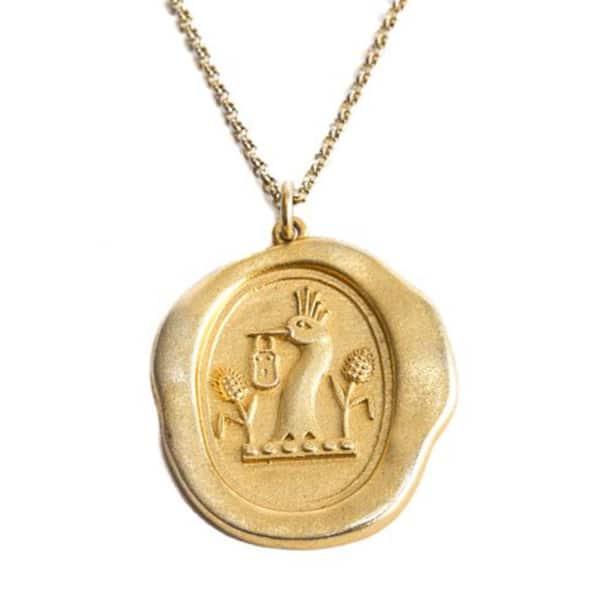 SERGE DENIMES Yellow Gold Padlock Pendant Necklace Matte