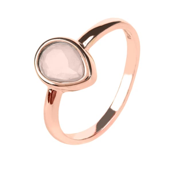 Pisa Mini Teardrop Ring Rosegold Rose Quartz