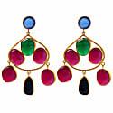 Chalcedony Aventurine & Black Onyx Gold Statement Earrings image