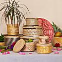 Woven Natural Straw Black & Grey Basket - Set Of 3 image