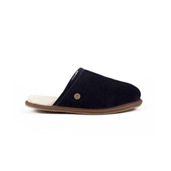 MAHI LEATHER Classic Men'S Navy Sheepskin Slippers