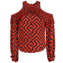 Gracie Cut Out Geometric Print Blouse image