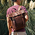 Straps Detail Genuine Leather Backpack In Russet Brown image