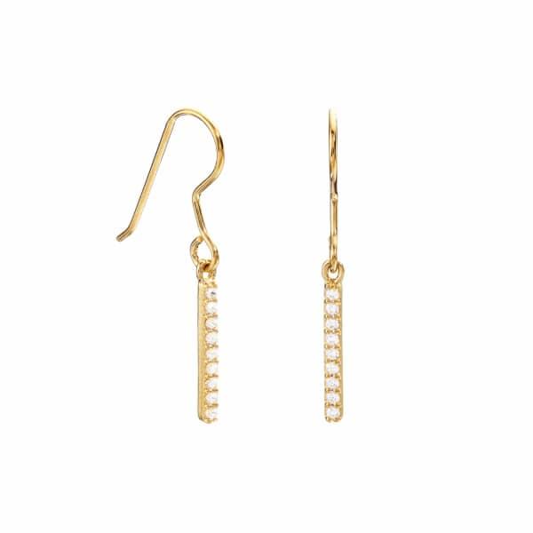 LILY & ROO Gold Diamond Style Bar Earrings