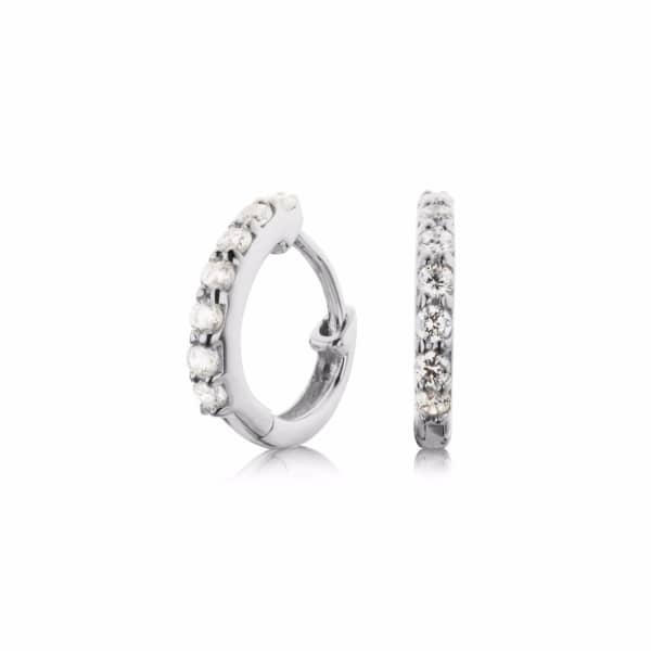 LILY & ROO Small Sterling Silver Diamond Huggie Hoop Earrings