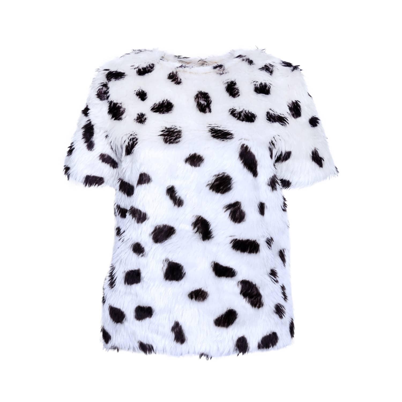 Faux-Fur Dalmatian Top