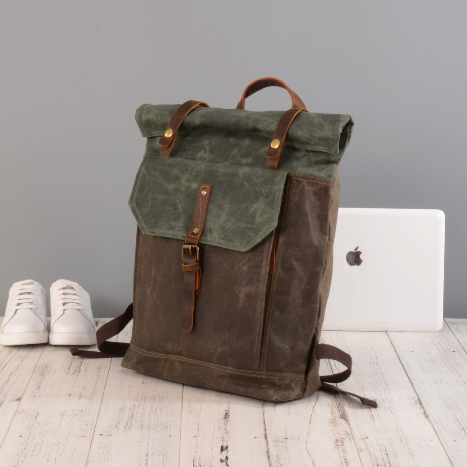 Waxed Canvas Roll-Top Backpack in Deep Green image 8bf59162e6827