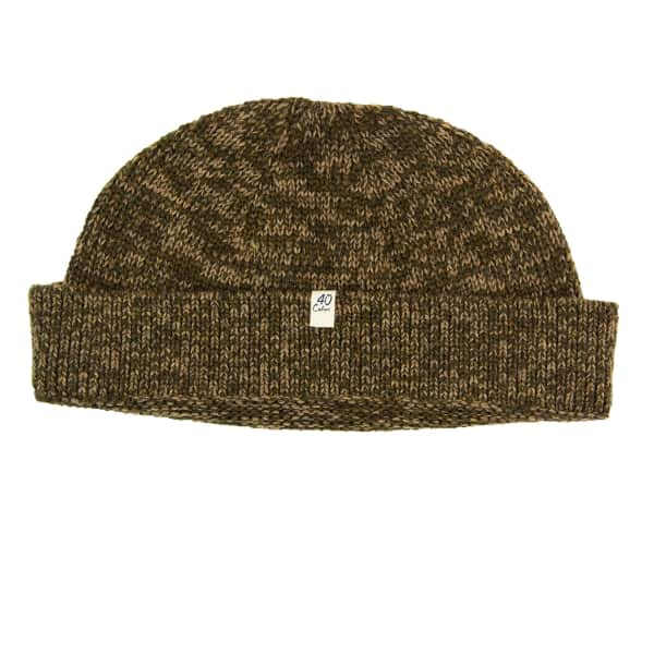 40 COLORI Brown Melange Wool & Cashmere Fisherman Beanie