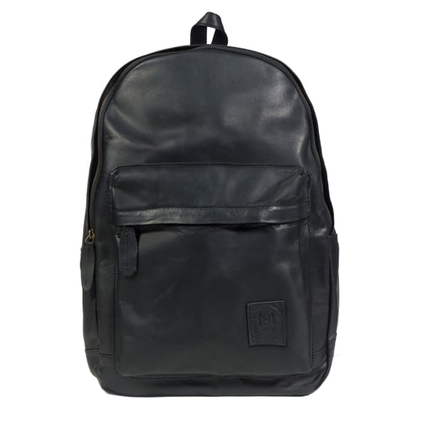 Leather Classic Backpack Rucksack in Black Leather