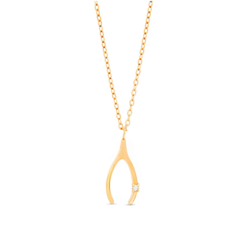 14k Yellow Gold Wishbone Pendant